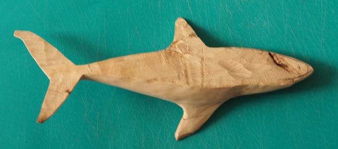 great white shark carving
